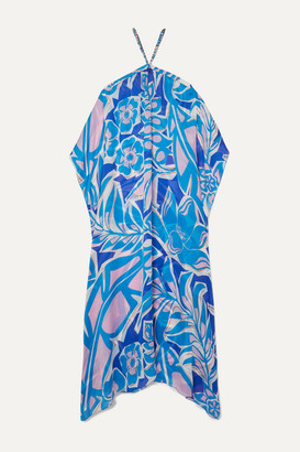 Emilio Pucci Samoa Chain-embellished Floral-print Silk-georgette Maxi Dress - Azure