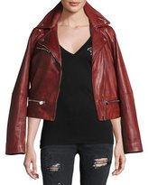 True Religion LACE UP LEATHER MOTO JACKET