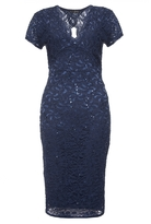 Quiz Navy Sequin Lace Cap Sleeve Midi Dress