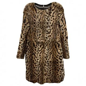 Gerard Darel Brown Rabbit Coat for Women