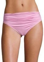 Carmen Marc Valvo Classic Weave Shirred Waist Bikini Bottom