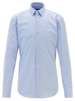 Checked slim-fit shirt in dobby cotton