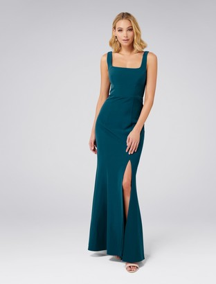 Forever New Carmel Square Neck Gown - Teal Oasis - 4