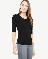 Ann Taylor Puff Sleeve Double V Sweater