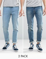 Asos Skinny Jeans 2 Pack In Light & Mid Blue Save
