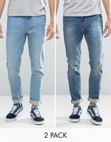 Asos Skinny Jeans 2 Pack In Light & Mid Blue