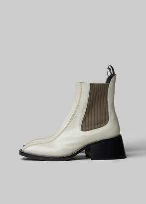 Chloé Women's Bea Chelsea Boot in Natural White Size 36 Calfskin Leather/Textile
