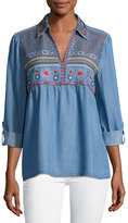 philosophy Roll-Tab Sleeve Embroidered Top, Blue