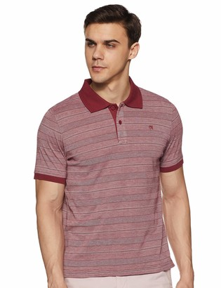 Out of Office Clothing Men's Short Sleeve Polo T -Shirt with Self Stripe Fabric