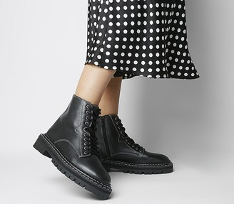 Office Alphabet Double Rand Lace Up Boots Black Leather