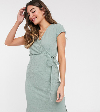 Mama Licious Mamalicious Maternity wrap dress with tie detail and nursing function in green