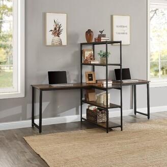 Inbox Zero Double Workstations Desk with Storage Shelves