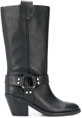 See by Chloe Mid-Calf Buckled Boots