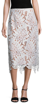 Tracy Reese Embroidered Lace Midi Skirt