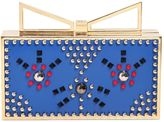 Sara Battaglia Lady Me Studded Cat Leather Clutch
