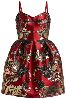 Dolce & Gabbana Floral And Leopard-brocade Mini Dress - Multi