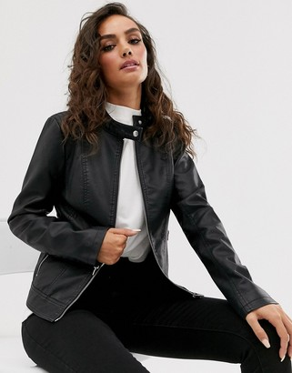 Vila Faux Leather Collarless Jacket-Black