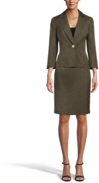 Le Suit Glazed Melange One-Button Skirt Suit