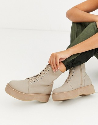 Asos Design DESIGN Alva chunky lace up boots in sand-Beige