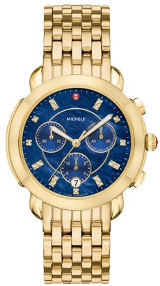 Michele Sidney Diamond, Blue Dial & 18K Goldplated Stainless Steel Chronograph Bracelet Watch