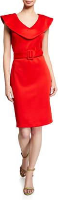 Alexia Admor Belted Cape-Overlay Sheath Dress