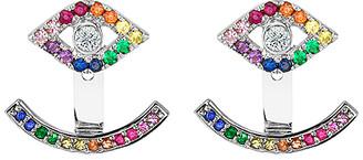 Swarovski Golden Moon Women's Earrings Silver - Red & Sterling Silver Evil Eye Hook Drop Earrings With Crystals