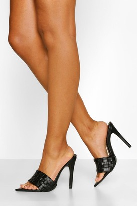 boohoo Woven Strap Pointed Toe Mules
