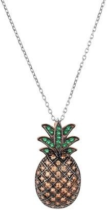Latelita Pineapple Large Colourful Pendant Gemstone Necklace Silver