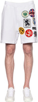 DSQUARED2 Military Glam Patches Cotton Sweatshorts