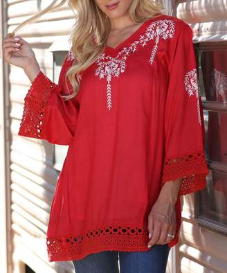 Ananda's Collection Women's Tunics red - Red Floral Embroidered Crochet-Hem Long-Sleeve Tunic - Women & Plus