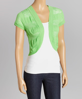 Green Flash Sheer-Stripe Sweater Shrug