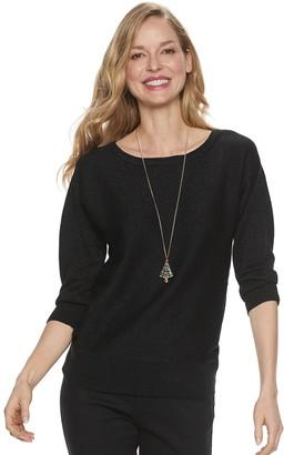 Croft & Barrow Women's Holiday Necklace & Lurex Dolman Sweater