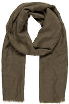 Jil Sander Olive Green Raw-Edge Scarf
