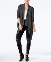 Bar III Faux-Leather-Inset Waterfall Cardigan, Only at Macy's
