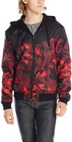 Southpole Men's Reversible Hooded Full Zip Nylon Jacket with Zippe Pockets and Geo Prints