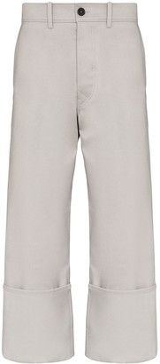 Uniforme Wide-Leg Turn-Up Trousers