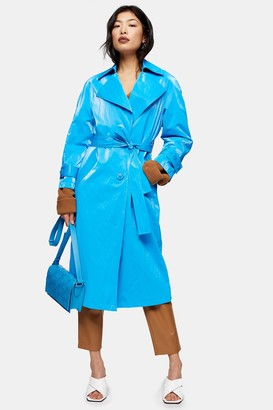 Topshop Womens Petite Bright Blue Pu Trench - Blue