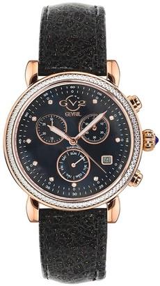 Gv2 Women's Marsala Sparkle Chronograph Diamond Stainless Steel Leather Strap Watch