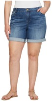 KUT from the Kloth Plus Size Catherine Boyfriend Roll Up Shorts in Feminine/Medium Base Wash
