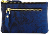 Neiman Marcus Exotic Embossed Faux-Leather Coin Purse, Cobalt Snake