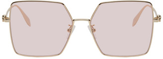 Alexander McQueen Gold and Pink Oversized Skull Sunglasses