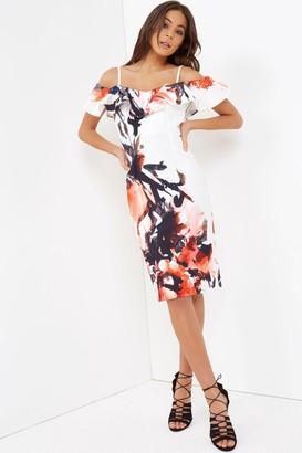 Little Mistress Ruffle Top Print Bodycon Dress