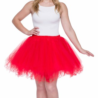 Dancina Women's Adult Vintage Petticoat Tulle Tutu Skirt [EU 36-40] UK: Regular (Size 8-18) Red