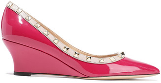Valentino Studded Patent-leather Wedge Pumps