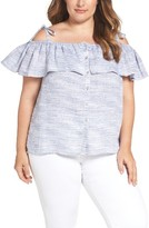 Lucky Brand Plus Size Women's Ruffled Off The Shoulder Linen Top