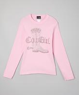 A Wish Pink Rhinestone 'Cowgirl' Long-Sleeve Tee - Toddler & Girls