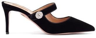 Aquazzura Astor 57 Crystal-embellished Velvet Pumps - Black