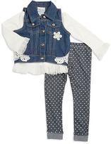 Little Lass Baby Girls Denim Vest, Tulle Tee abd Polka Dot Leggings Set