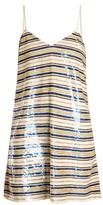 Ashish Striped Sequin-embellished Mini Dress - Womens - Cream Multi