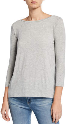 Majestic Filatures Boat-Neck 3/4-Sleeve Pleated-Back Tee